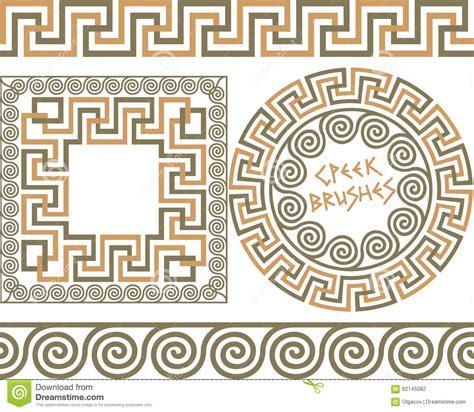 greek pattern brush set 3 brushes greek meander patterns stock vector