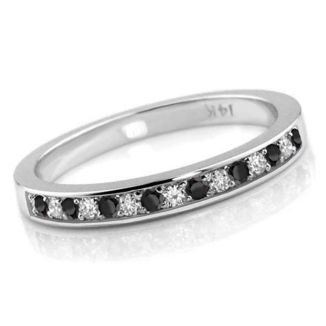 ct alternating black white diamond wedding ring band