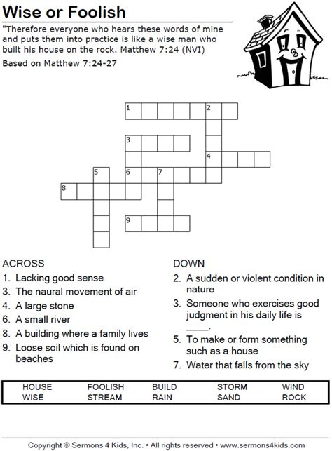 Or Youth Lesson Wise Or Foolish Crossword Puzzle Bible Class