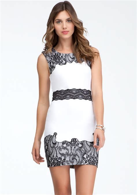 43798 White Trim Dress bebe lace trim ponte dress in white lyst