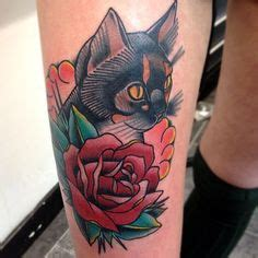 tattoo cat and rose tattoos on pinterest chest piece traditional tattoos