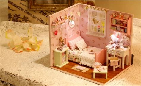 Diy Do It Yourself Miniature House Baby Room miniature dollhouse diy kit pink room with led lights