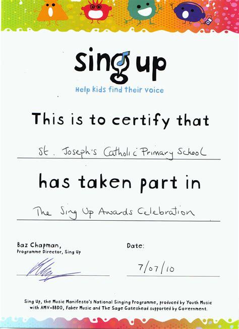 choir certificate template st joe s july 2010