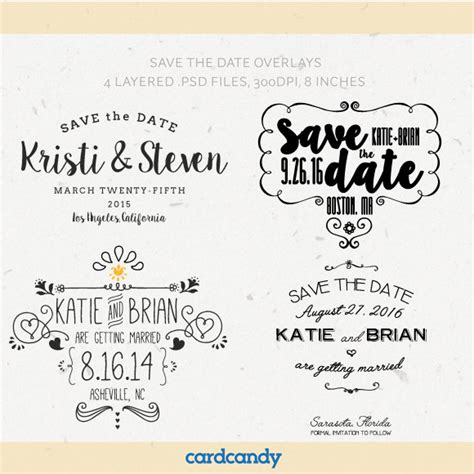 Digital Save The Date Overlays Wedding Photo Card Overlays Template Psd Free Save The Date Save The Date Template Psd