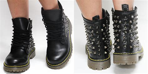 womens black studded spike zip combat boots us 6 11