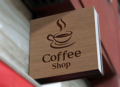 coffee shop sign design free wall mounted shop sign board logo mockup psd good