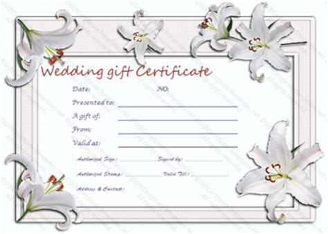 Wedding Gift Certificate Templates Bridal Gift Certificate Template