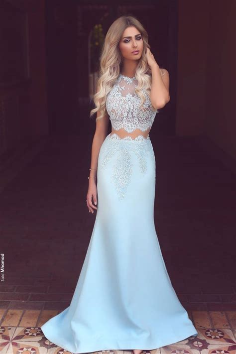 Light blue chiffon white lace see through round neck