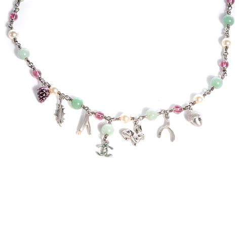 chanel beaded necklace chanel beaded charm cc necklace silver multicolor 70800