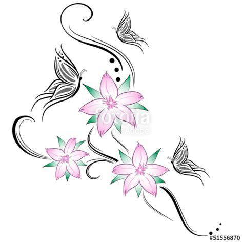 foto tatuaggi fiori di ciliegio quot fiori di ciliegio e farfalline stilizzati tatuaggio