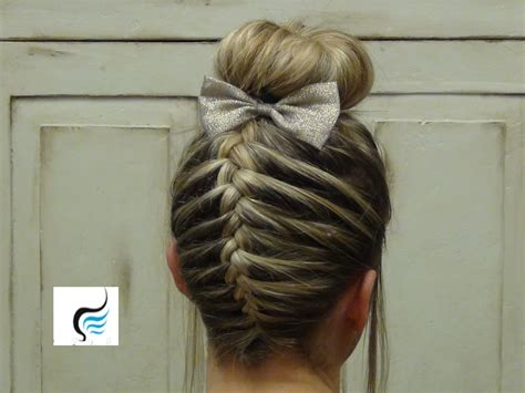 school cheer hairstyles braid sock bun hairstyle