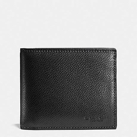 coach f74974 compact id in crossgrain leather black