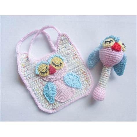 Heerte Baby Bandana Bib Owl 2pk owl baby bib and rattle crochet pattern by wistfully woolen