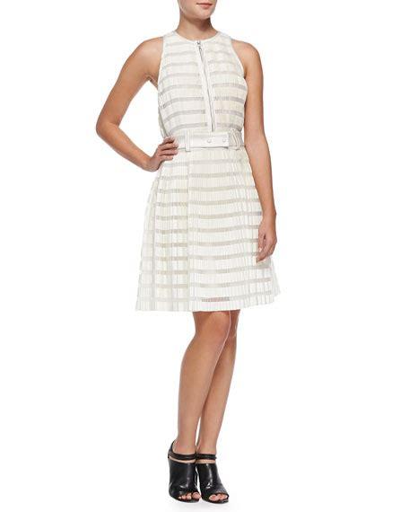 Dress Cat 2warna Fit L 3 1 phillip lim striped accordion pleated fit and flare dress ivory