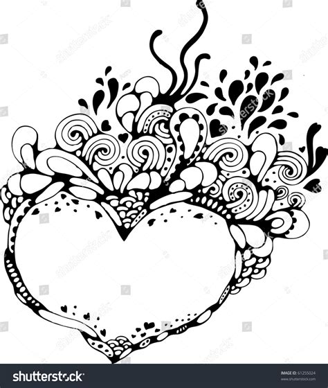 doodle hearts abstract handdrawn doodle frame stock vector