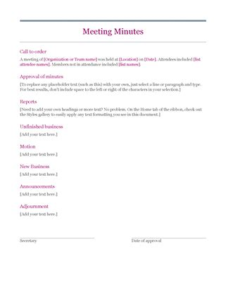 outlook meeting minutes template classic meeting minutes