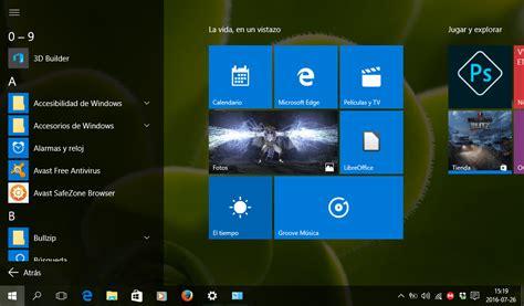menu inicio de windows  pantalla completa  lista de programas  bit  la vez