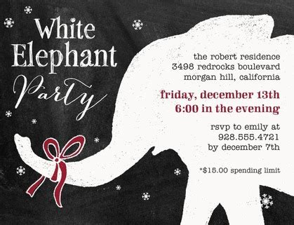 White Elephant Party Invitations Cimvitation Free White Elephant Invitation Template