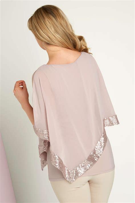 Overlap Top sequin chiffon overlay top in light pink originals uk
