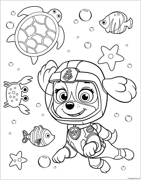 coloring paw patrol paw patrol rubble underwater 2 coloring page free