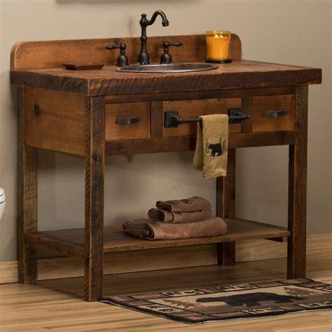 reclaimed barn wood open vanity rustic bathroom ideas