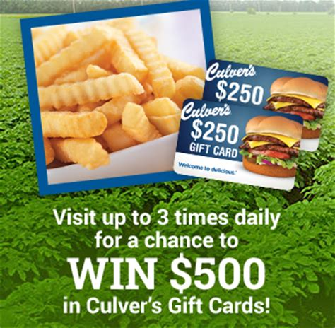 Culvers Gift Card - culver s lucky spud instant win game free coupons 500 gift card