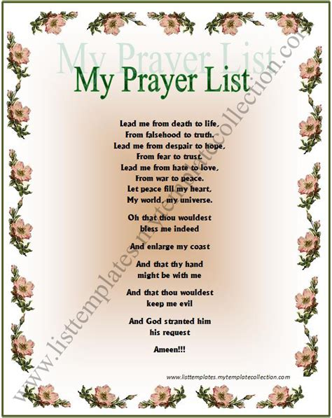prayer template 4 best images of free printable prayer list free prayer