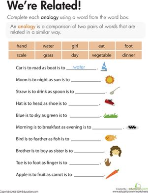 analogies we re related worksheet education com