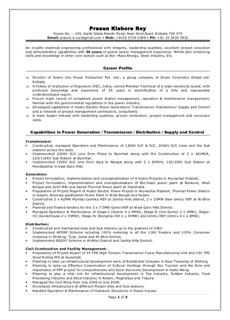 Power Plant Electrical Engineer Sle Resume Director Power Projects Resume