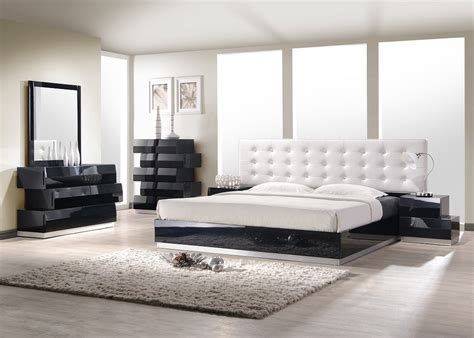 Contemporary King Bedroom Sets Aliya King Size Modern Style Bedroom Set Black White Leather Wood Ebay