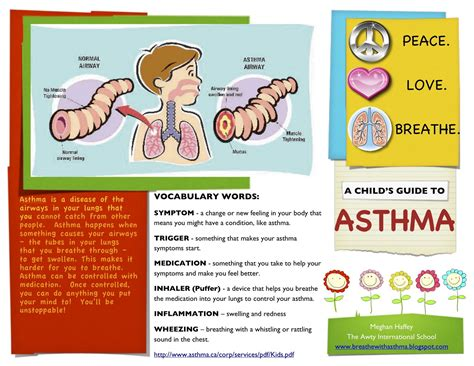 asthma brochure template asthma awareness for adults and children a child s guide