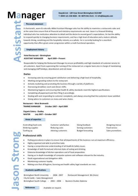 restaurant assistant manager resume templates cv exle description cover letter format