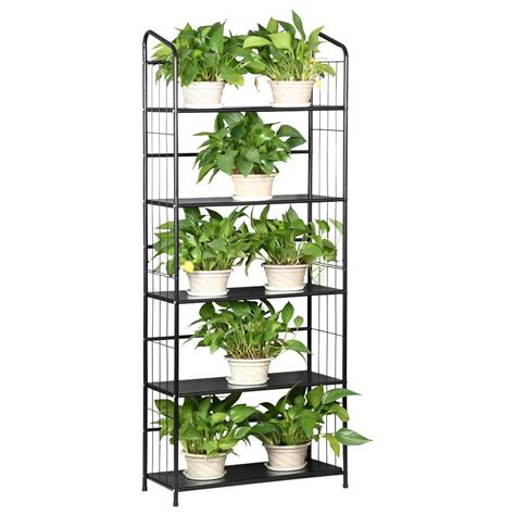 Metal Plant Rack by 5 Tier Black Patio Plant Pot Stand Rack Metal Bookcase