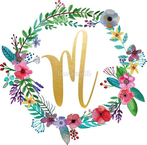 Initial M quot floral initial wreath monogram m quot stickers by laurajoy16