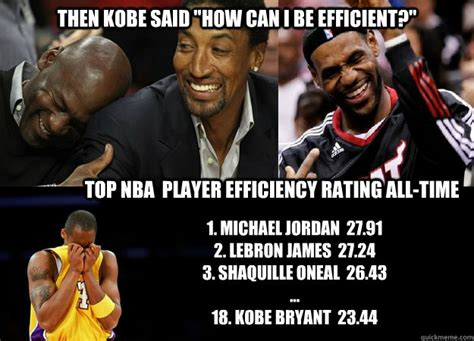Lebron Kobe Jordan Meme - kobe efficiency memes quickmeme