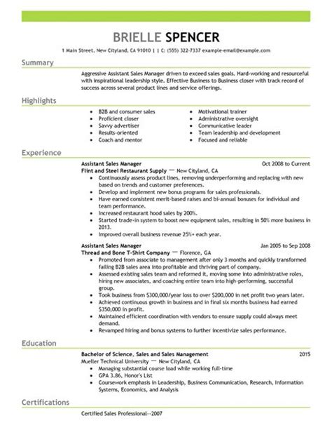 Assistant Spa Manager Sle Resume by Assistant Managers Resume Exles Sales Resume Exles Livecareer