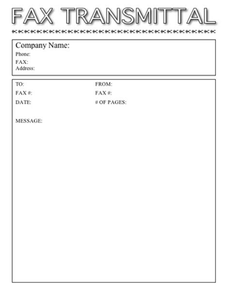 Basic Transmittal Letter This Printable Fax Cover Sheet Is Basic In Format With Fax Transmittal In Outline Letters It S