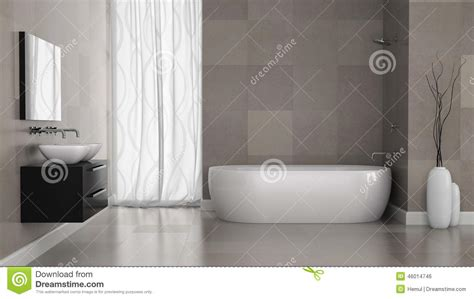Home Decor 3d interior of modern bathroom with grey tiles wall stock