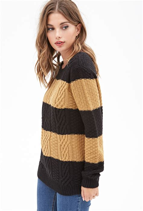 forever 21 cable knit sweater forever 21 cable knit striped sweater in black lyst