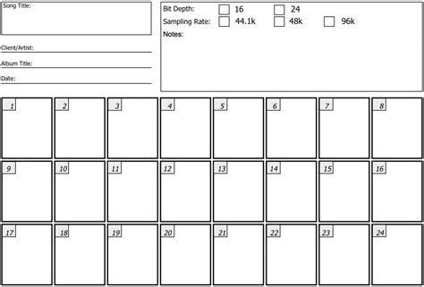 The Recording Thread Page 2 Marshallforum Com Recording Session Sheet Templates