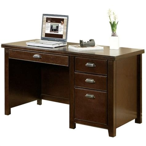 Cherrywood Computer Desk Kathy Ireland Home By Martin Tribeca Loft Pedestal W Hutch