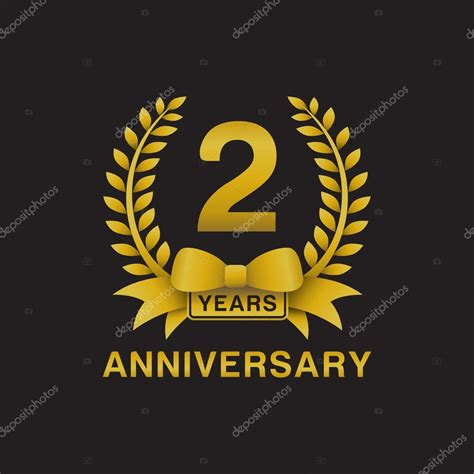 2nd anniversary golden wreath logo black background