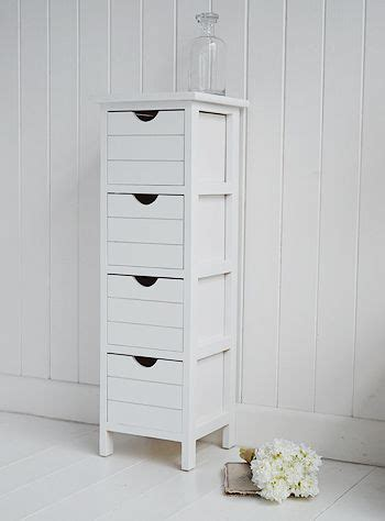 Dorset Narrow Free Standing Bathroom Cabinet With Storage Drawers Ideal For Smaller Bathrooms