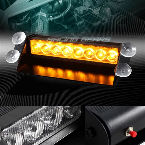 Led Strobe Light Bars For Trucks 8 Led Emergency Car Truck Suv Dashboard Warning Flash Strobe Light Bar Ebay