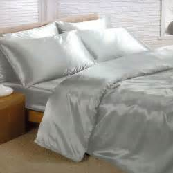 Super King Size Duvets Sets Silver Satin Super King Duvet Cover Fitted Sheet And 4