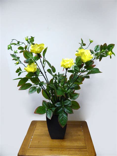 artificial potted plant cm large yellow rose tree bush
