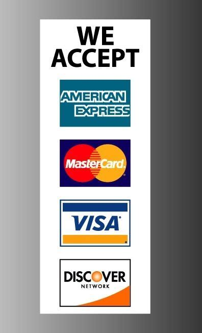 Visa Mastercard Discover Stickers