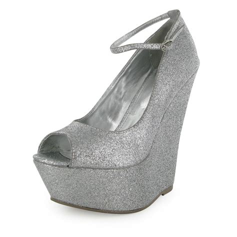 womens silver glitter peep toe wedge evening court