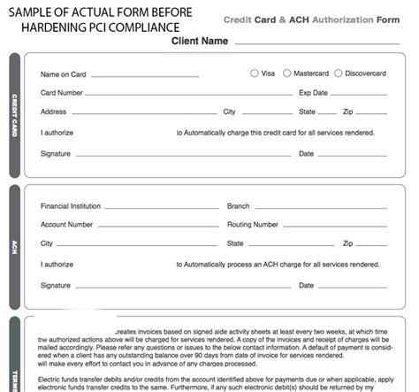 Credit Card On File Template Doc 700655 Credit Card On File Authorization Form