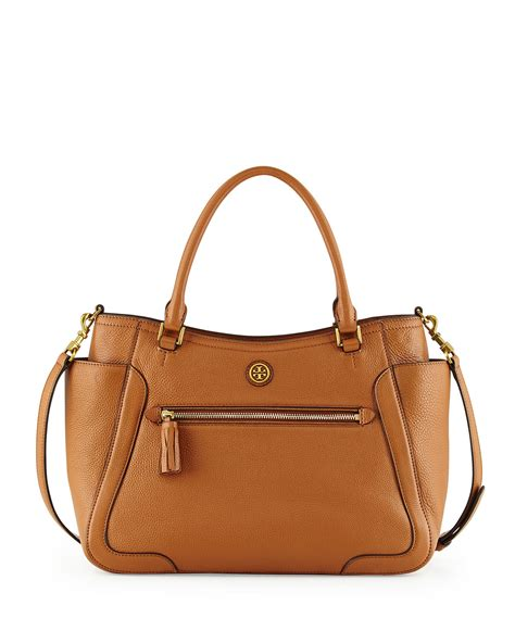 burch frances leather satchel bag in brown lyst